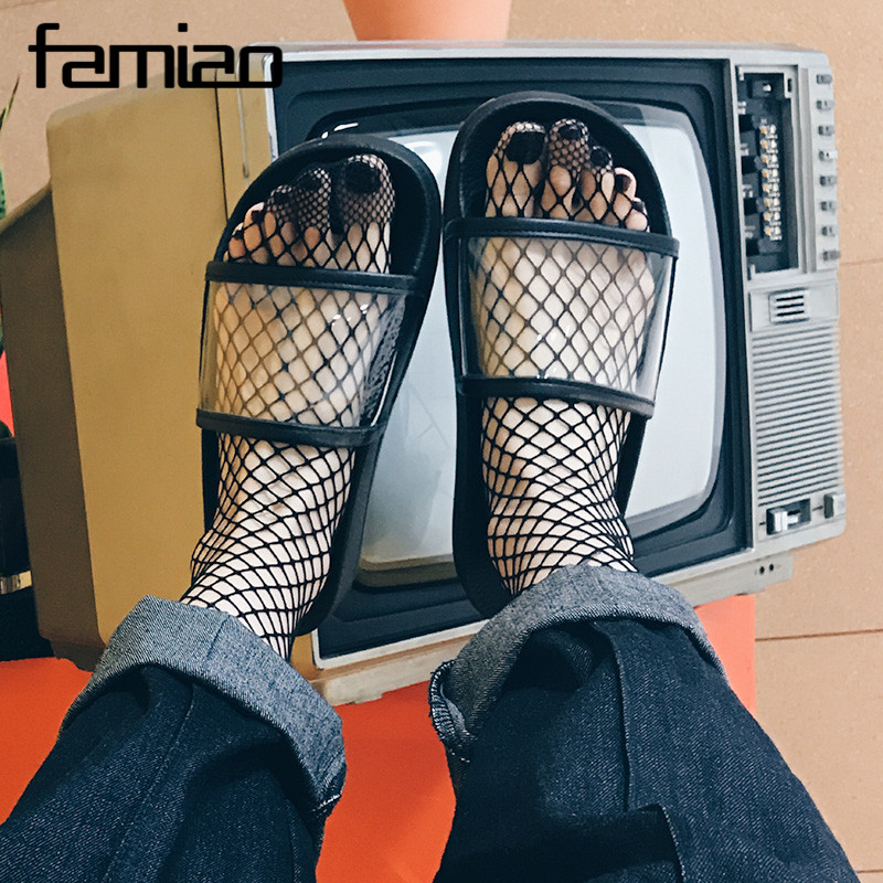 Summer Flat Sandals 2017 Casual Platform Transparent Shoes Woman Solid Slippers Slip On Flats Flip Flops Beach Creepers lanshulan wedges gladiator sandals 2017 summer peep toe platform slippers casual glitters shoes woman slip on flats creepers