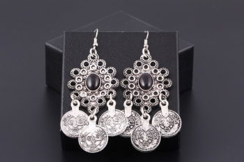 Vintage Silver Turkish Coin Earrings floral design Boho Gypsy Beachy Ethnic Tribal Festival Jewelry Turkish Bohemian Earrings