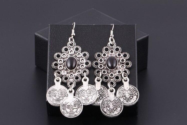 Vintage Silver Turkish Coin Earrings floral design Boho Gypsy Beachy Ethnic Tribal Festival Jewelry Turkish Bohemian Earrings