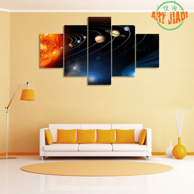 5 Pieces/set Canvas Art Sun in the Center of the Solar System Canvas ...