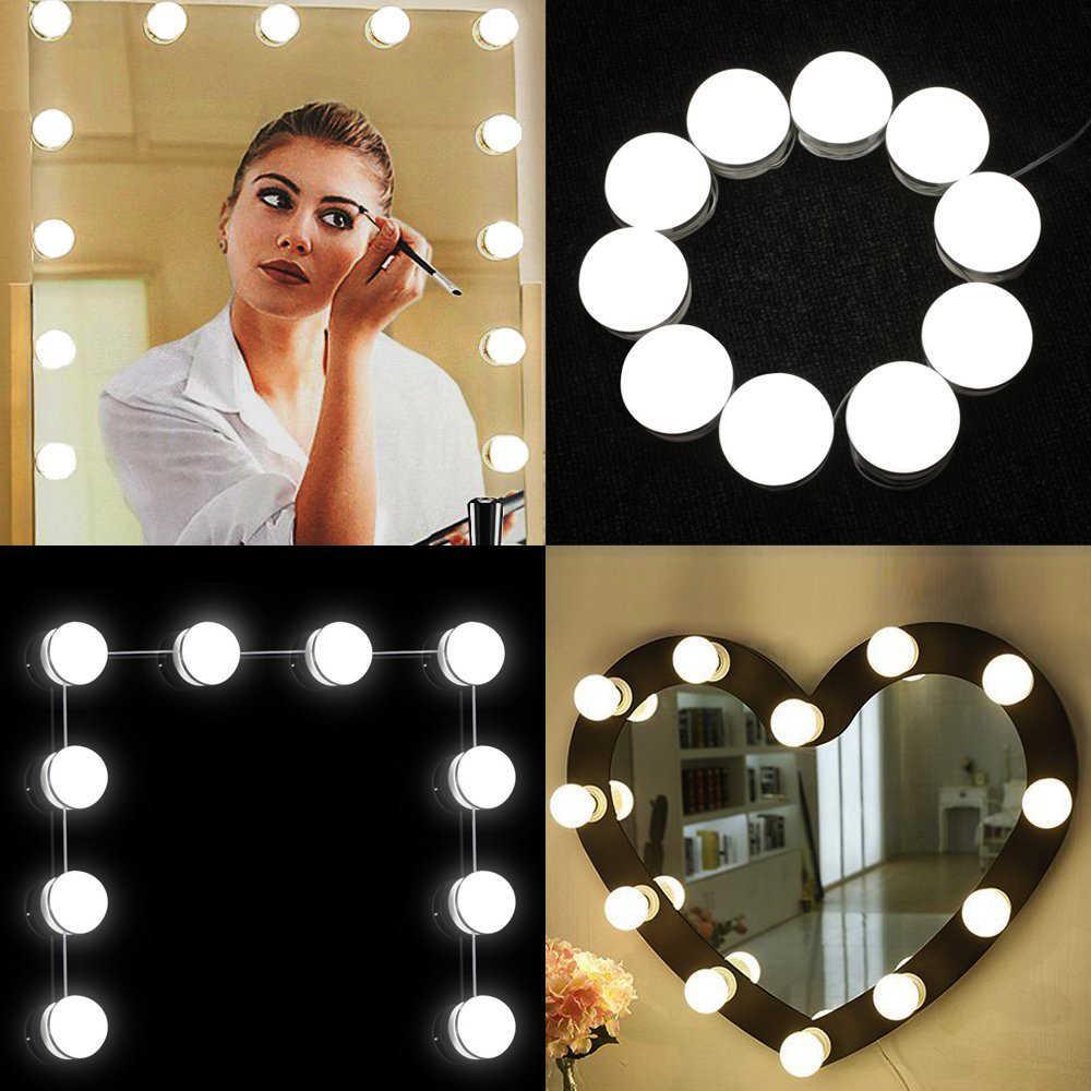 10 шт. макияж зеркало тщеславие Светодиодный лампочки лампы Комплект 3 уровня яркость Регулируемый освещенный макияж зеркала косметические лампы