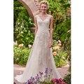 Vestido De Noiva Plus Size Romântico de Rendas Vestidos de Casamento 2017 Sexy V-neck Tanque Vestidos de Casamento Top Botão Voltar Vestidos de Noiva