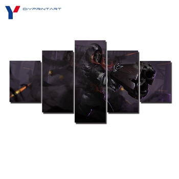 Overwatch Reaper 5 Panels Canvas Art Game Poster Canvas Pictures for Living Room A0369