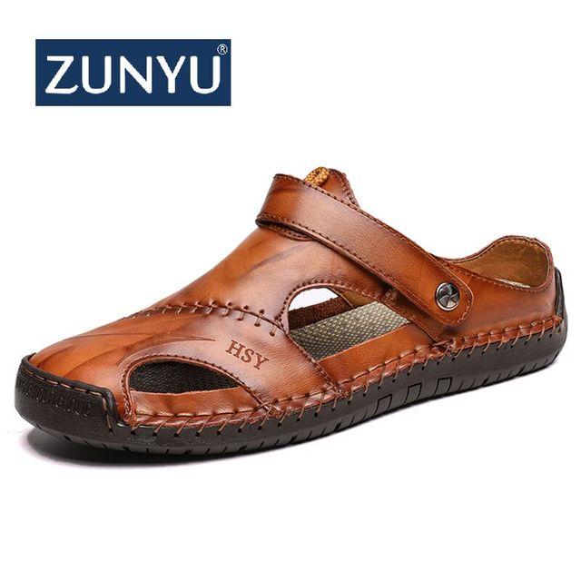 ZUNYU yeni Casual erkek yumuşak sandalet rahat erkek yaz deri sandalet erkekler roma yaz açık plaj sandaletleri büyük boy 38 48