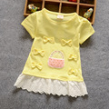 2016 New spring summer Children clothing sweet girls baby's Cute baskets Bow patch Lace hem o-neck short-sleeve t-shirt Y1783