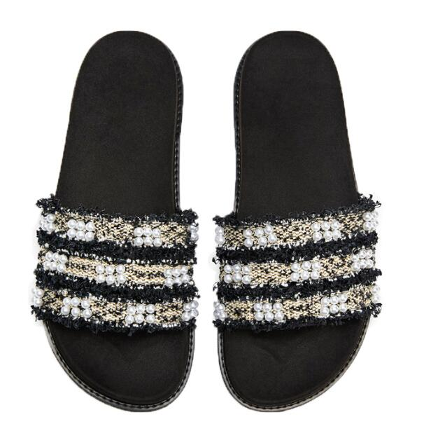 Moraima Snc White Pearls Beaded Flat Shoes Woman Sexy Open Toe Shoes Summer Comfortable Casual Shoes Rome Style Slides