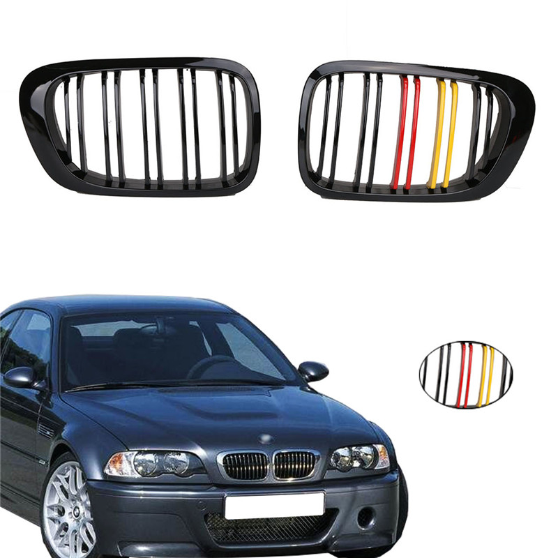 Gloss Black with RED-Yellow Color Front Kidney Grille Double Line Grills Grill for BMW E46 2 Door 3 Series 1998-2001 Coupe M3 // car grills e39 gloss black m color front kidney grilles double line grills for bmw e39 m5 1997 2003 c 5