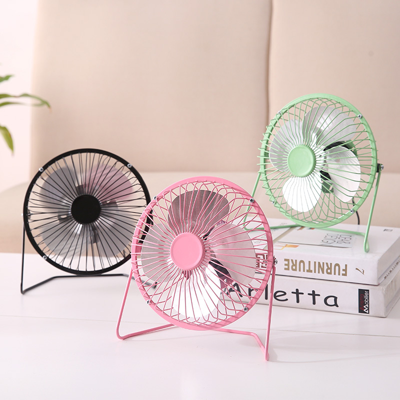 ZQ USB Desktop Double Leaf Small Fan,Mini Silent Desktop Creative Student Dormitory Office Fan,A