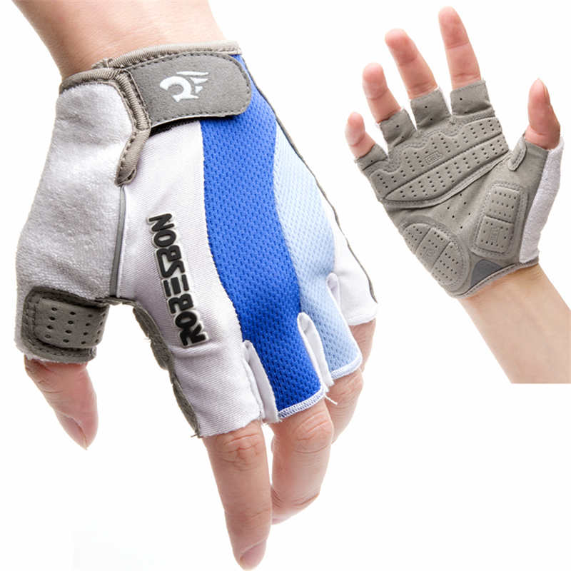 ROBESBON White Blue Bicycle Cycling font b Gloves b font Half Finger Sport Mountain Bike font