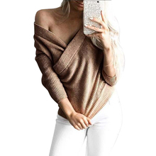 Female Autumn warm sweaters women pullovers Jumpers winter knitting woman long sleeve Warp Crossed sweater lady Sexy jacket Tops