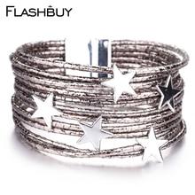 Amorcome Fashion Leather Bracelet For Women Bohemian Bangle Charms Gold Bracelet Christmas Gift Crystal Women Jewelry недорого