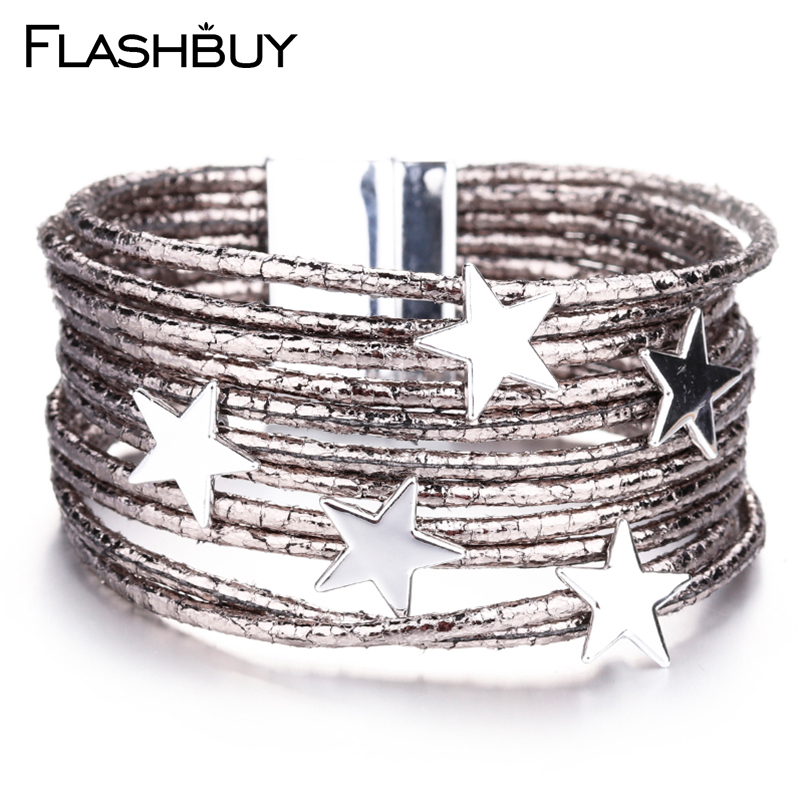 Flashbuy Fashion Star Charms Shine Leather Bracelet For Women Bohemian Bangle Gold Bracelet Christmas Gift Crystal Women Jewelry image