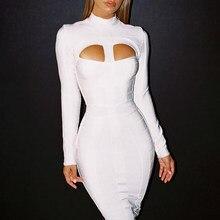 8c3fcccb975963b BEAUKEY Мода Высокое качество белый длинный рукав полый сексуальный до  середины икры облегавечерние ющее вечернее Бандажное плат.