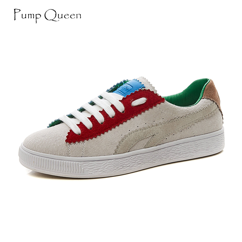 PumpQueen Shoes Woman Sneakers Women Shoes Flats Casual Suede Pig Leather Fashion Mixed Color Female Shoes Round Toe Lace Up 40 instantarts casual women s flats shoes emoji face puzzle pattern ladies lace up sneakers female lightweight mess fashion flats