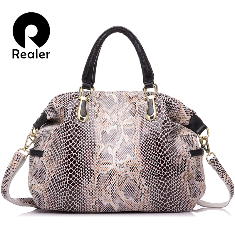 REALER brand women genuine leather tote bag female fashion serpentine prints leather handbags boston bag large shoulder bag