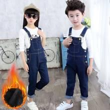 46cb04b76c1c New Autumn Winter Kids Boys Girls Velvet Warm Jeans Pants Children Bib Overalls  Jumpsuits Trousers Teens