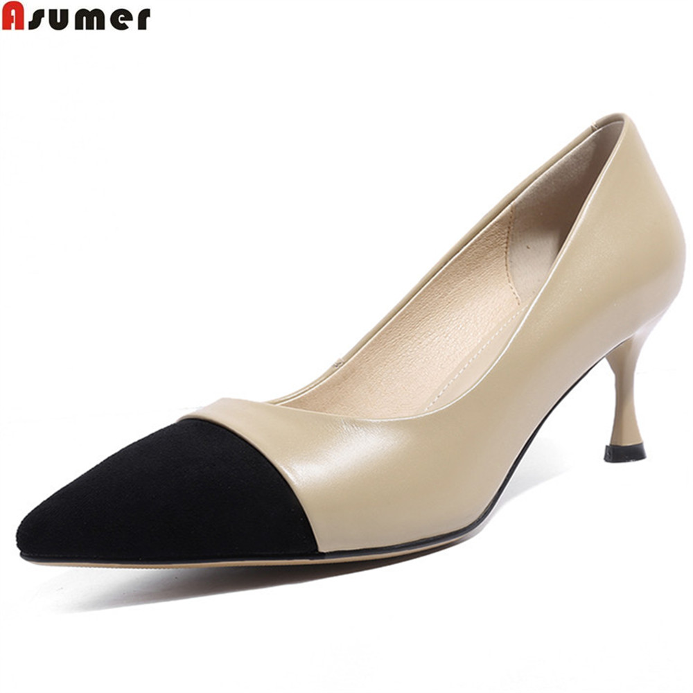 ASUMER apricot fashion 2018 spring autumn shoes woman pumps pointed toe shallow elegant women genuine leather high heels shoes keaiqianjin woman wedges shoes shallow pointed toe red wedding pumps spring autumn genuine leather ultra high heels shoes 2018