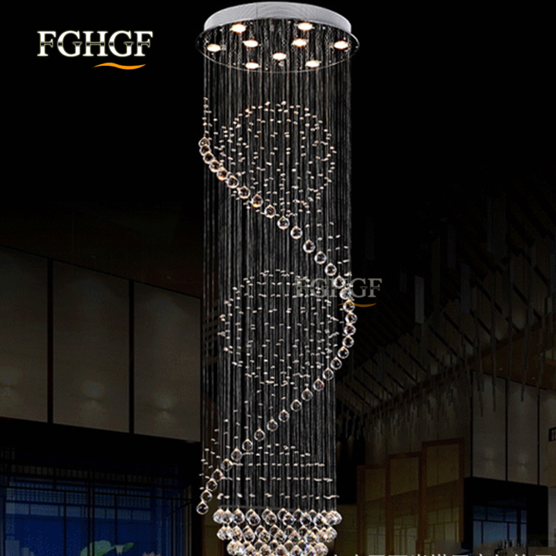 Modern Long Spiral Living Crystal Chandeliers Lighting Lustres Fixture for Staircase Stair Lamp Showcase Bedroom Hotel Hall (7)
