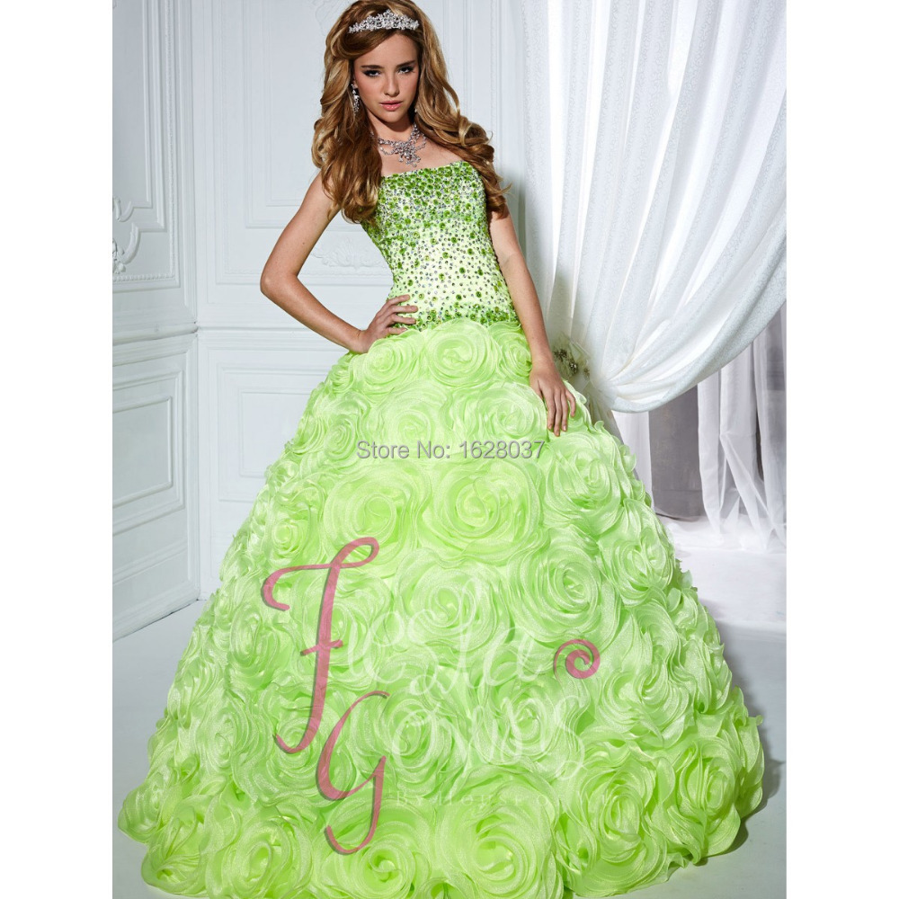 Lime Green Organza Quinceanera Dress For 15 Years