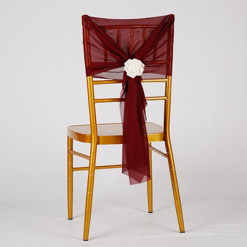 Chiffon Chair Sash For Wedding Banquet Decoration