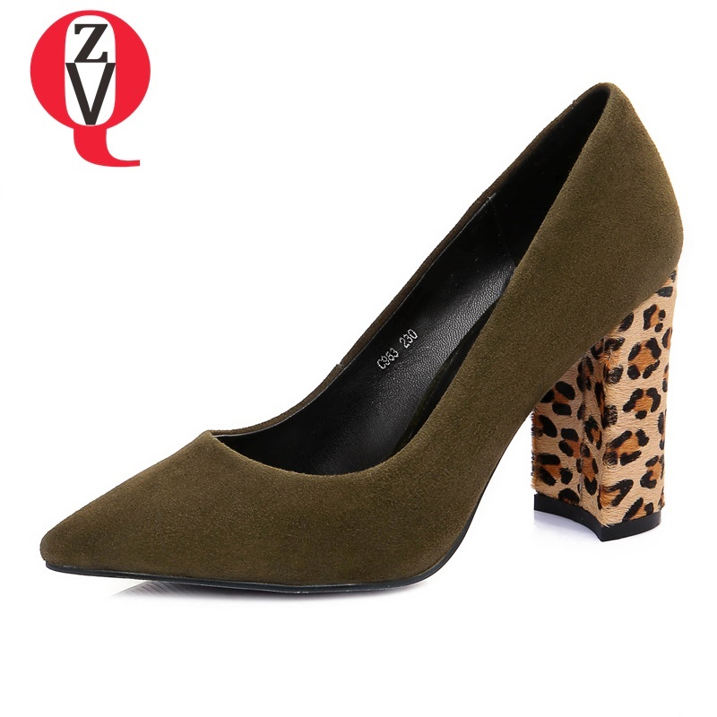 ZVQ women shoes new fashion kid suede pointed toe slip-on super high hoof heels shallow outside black and green office pumps european style fashion pointed toe shallow slip on strange women high heels shoes suede flock upper girl wedding nude footwear