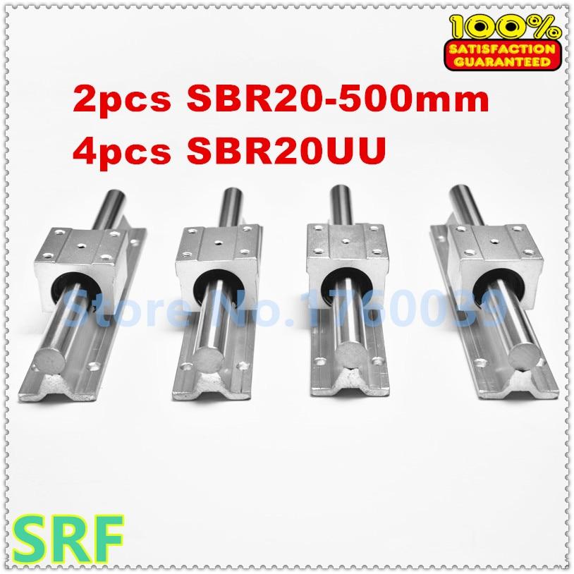 20mm linear rail 2pcs SBR20 L=500mm linear shaft support rail + 4pcs SBR20UU Linear Motion Blocks for CNC20mm linear rail 2pcs SBR20 L=500mm linear shaft support rail + 4pcs SBR20UU Linear Motion Blocks for CNC