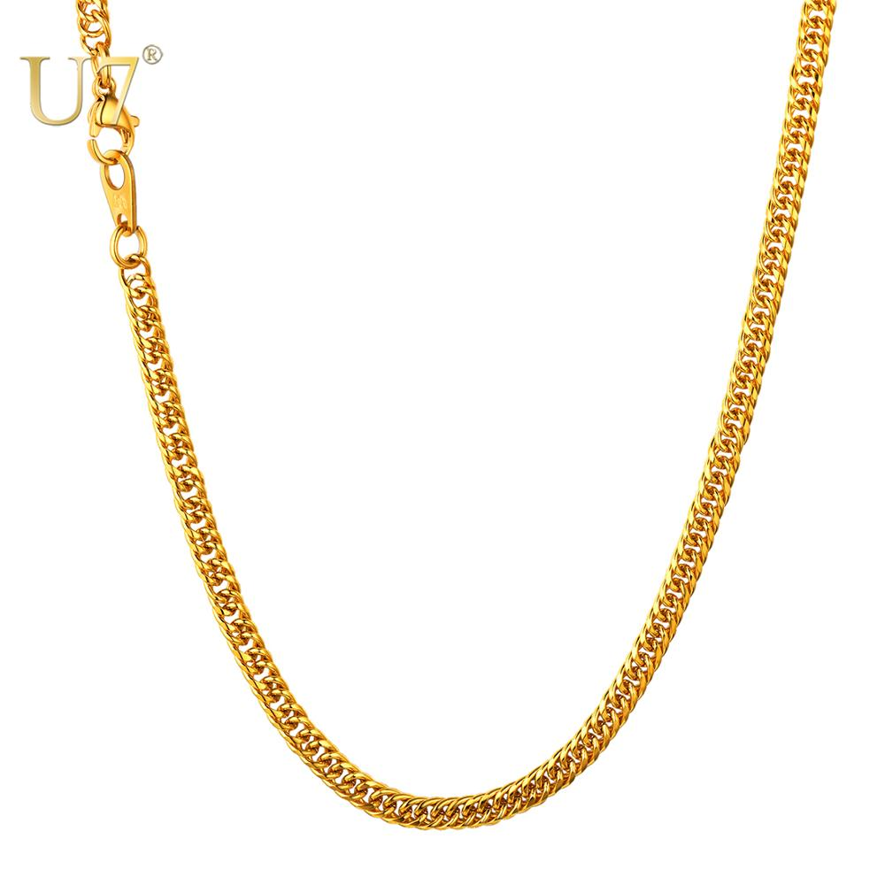 U7 Men Hip Hop Chunky Chain Width 3.5mm Stainless Steel/Black Gun/Gold Color Jewelry Franco Curb Link Necklace N1136