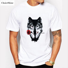 ChoiceShine T Shirt Men New Arrival ROSE WOLF Casual Short O-neck Animal Broadcloth Men's T-shirts Tee Shirt 3D Homme Plus Size