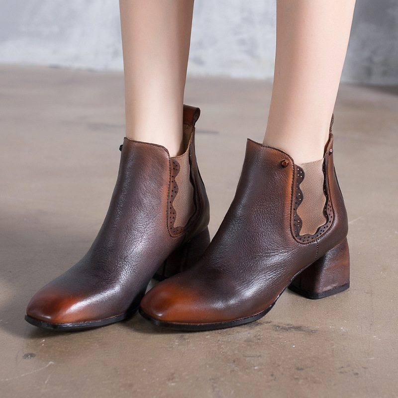 Women 6 CM High Heels Genuine Leather Knight Boots For Women Retro Shoes Winter 2018 Brand Leather Women Ankle Boots Handmade цены онлайн