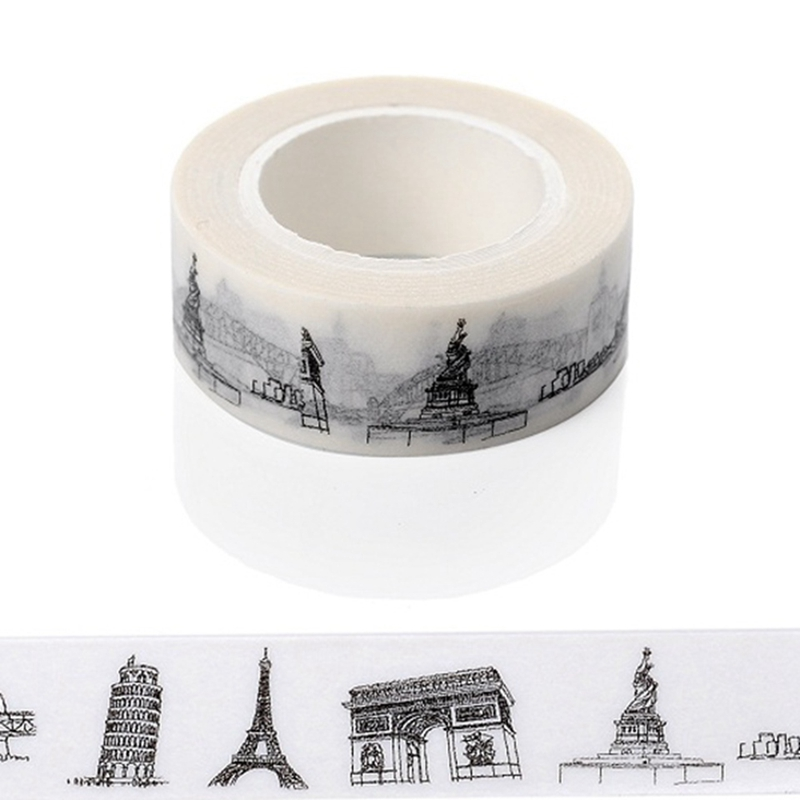 10m*15mm Creative European Architecture Washi Tape DIY Decorative Tape Color Paper Office Adhesive Stationery Masking Tape