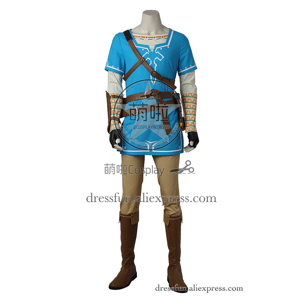 The Legend of Zelda Breath of the Wild Cosplay Costume Link Costume Blue Top Outfits Uniform Full Set Fast Shipping