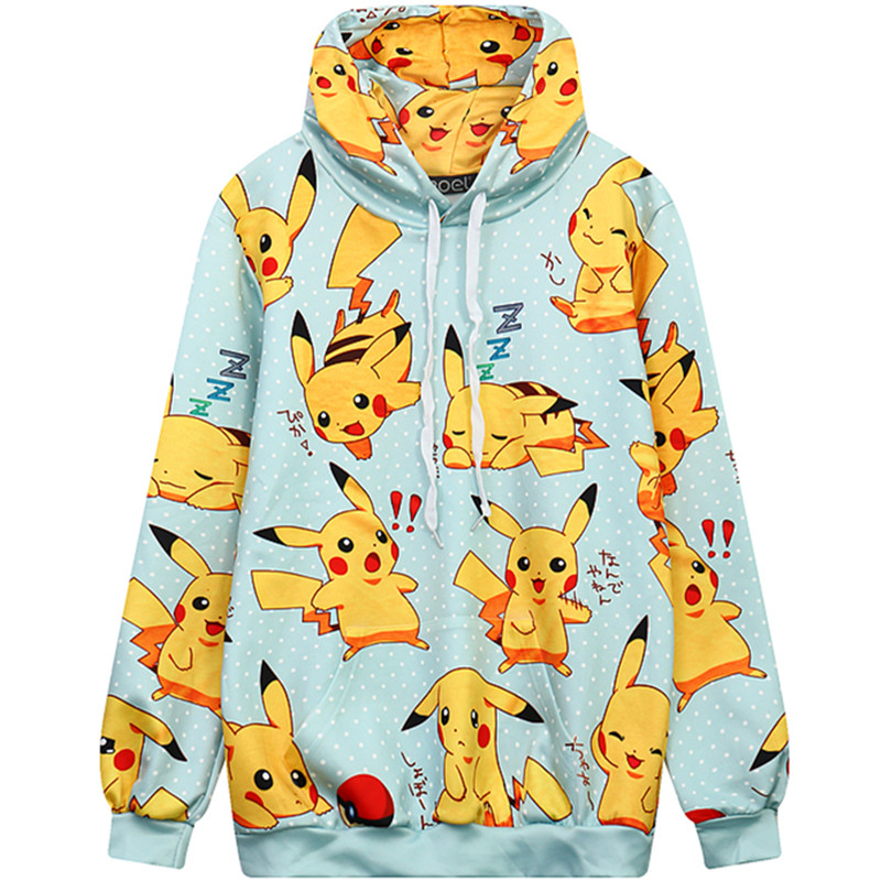 Harajuku 3D Print Poke mon Pika chu Sweatshirts Fashion Long sleeve with hat Men Women Cute Pika chu Hooded Hoodies Tracksuit