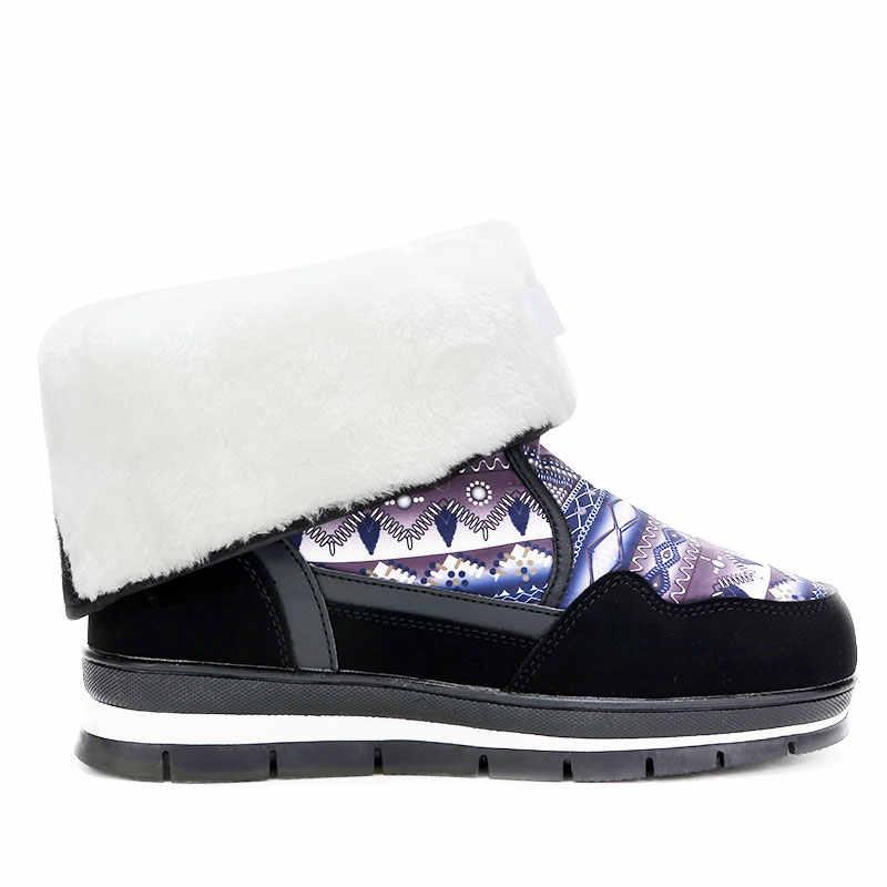 GOGC sıcak çiçek kar botları kadın su geçirmez platformu su geçirmez kış ayakkabı kadın artı boyutu orta buzağı çizmeler kadın kış 9796