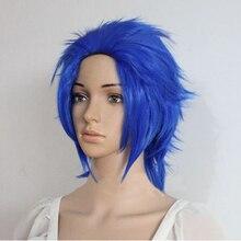 אנימה פיות זנב לוי Mcgarden קצר כחול מנוסח נשים ילדה חום עמיד שיער Cosplay תלבושות פאה + חינם פאה כיפה