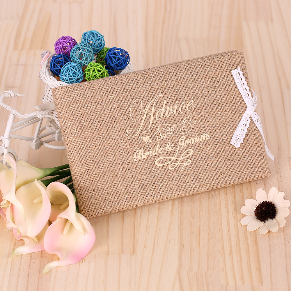 Diy Cover Guest Book : Burlap jute lace flower guest book pages cover