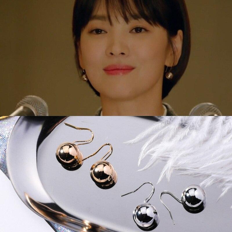 2019 Korean Drama Popular Jewelry Gold Silver Metal Ball Hook Earrings For Women Minimalist Small Drop Earrings For Daily earrings