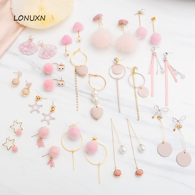 High quality Korean hollow heart stars round Style Pink Love mink ball earrings fashion simple pearl tassel girls temperament цены онлайн