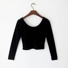 2017 Casual T-Shirt Women Blusa Womens Long Sleeve O-Neck Girls T-shirt Tops Cotton Party Bustier Crop Top Elastic Women Top