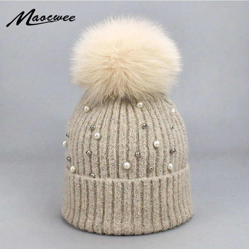 1230eccab35 Girl Wool Beanies Caps Hats Fur Pom Pom Hat Winter Warm Soft Solid Crochet  Knitted Hat With Pearl Natural Raccoon Fur Pompom Hat