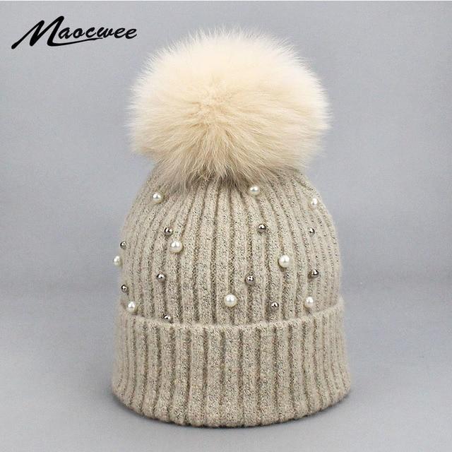 Aliexpress.com: Comprar Lana chica gorros gorras sombreros piel Pom ...