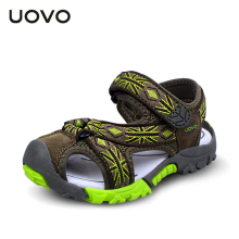 UOVO Summer Brand Children Boys Sandals Toe Cap Genuine Leather Kids Sandals Textile Flag Casual Sport Sandals for Little Boys