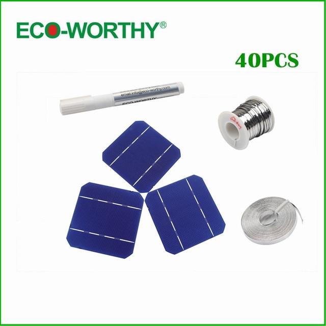 40pcs 5x5 A Grade 125*125 Monocrystalline Solar Cell Flux Pen Tab Wire Bus Wire Mono Solar Cells for DIY 100W 12V Solar Panel