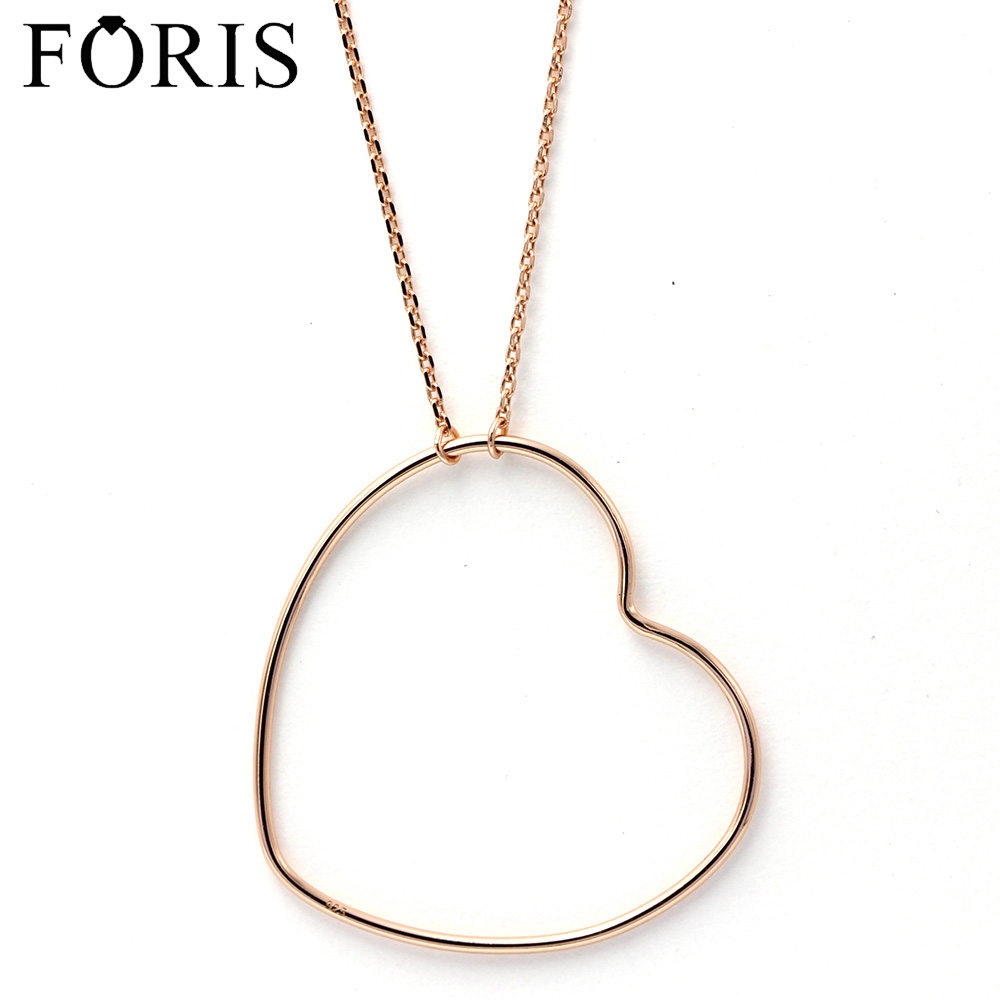 FORIS Hot sale Fashion Jewelry Rose Gold Big Love Heart Necklace For Women Gift Best Selling PN034 yoursfs 18k rose white gold plated letter best mum heart necklace chain best mother s day gift
