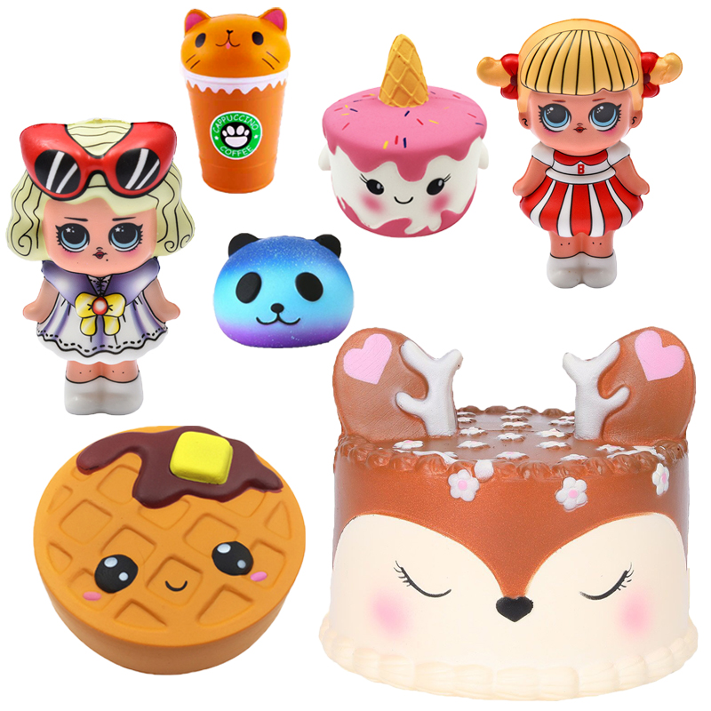 Cute jumbo Squishy Deer cake Food Scented Cat Hamburger Squishies Slow Rising Antistress toy squeeze Squishy stress relief toy(China)