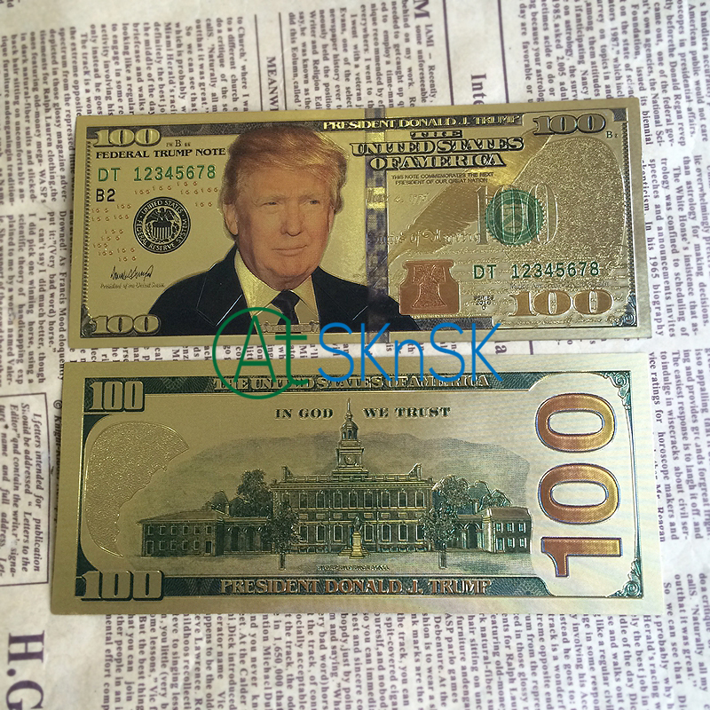 10 stks / partij President Donald Trump Authentieke 24 k Vergulde Herdenkingsmunt Bank Opmerking Collectors 100 USD Bankbiljetten Goudfolie Bill