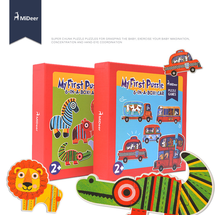 Mideer Children 6-in-A-box Large Paper Jigsaw Puzzles Toys Animal Car Puzzle Games Kids Toys Baby Educational Toys 2 years+ ice age prehistoric animal a mammoth in a walk collection children toys a mammoth in a walk