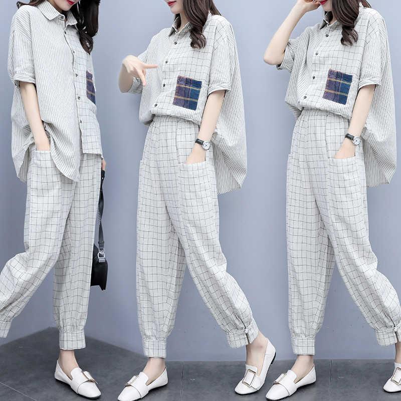 チェック柄セット女性プラスサイズ 3XL 2019 夏の新ファッション大型ストライプチェック柄ラペルシャツ + パンツ 2 点セット女性
