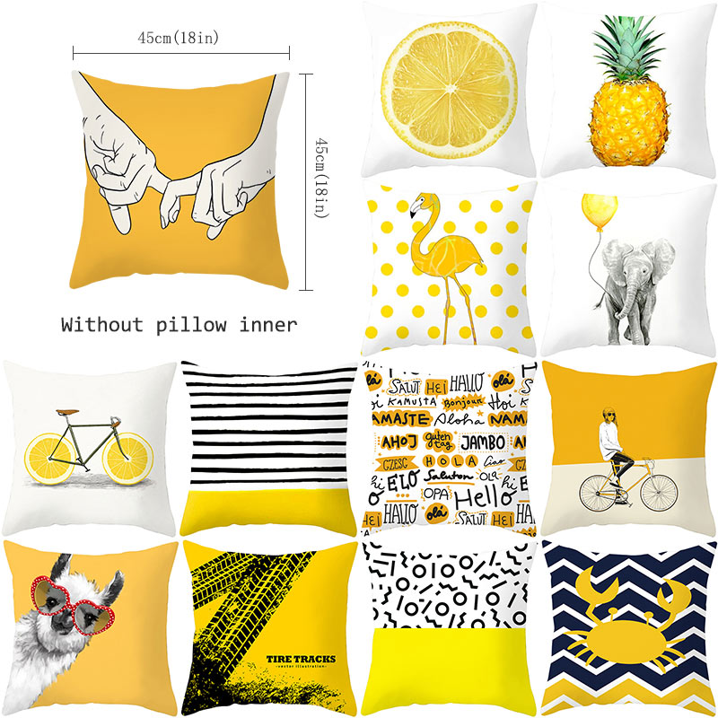 YWZN Pineapple Leaf Yellow Throw Pillow Case Yellow Pineapple Decorative Pillowcase Polyester Pillow Cover Kussensloop