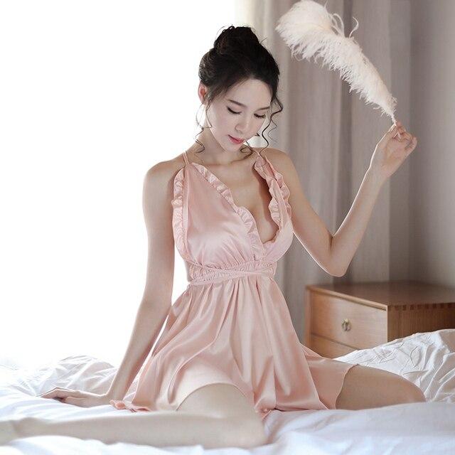 3964ca6b13 Sexy Silk Lingere Deep V Nighties Blackless Lingerie Porno Women SleepWear  Chemise Night Dress Gowns Ropa Sexy Para El Sexo Pink