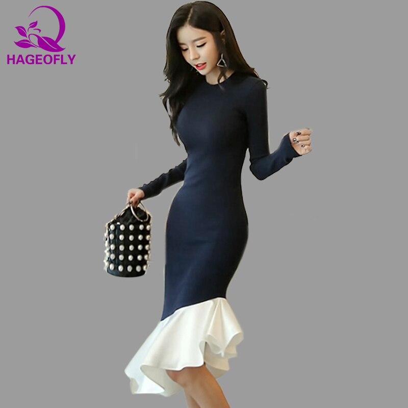 HAGEOFLY Coréenne Style À Tricoter Femmes Robes Automne 2018 Nouveau Élégant Foncé Bleu Patchwork Blanc Midi Trompette Robe Parti Robes